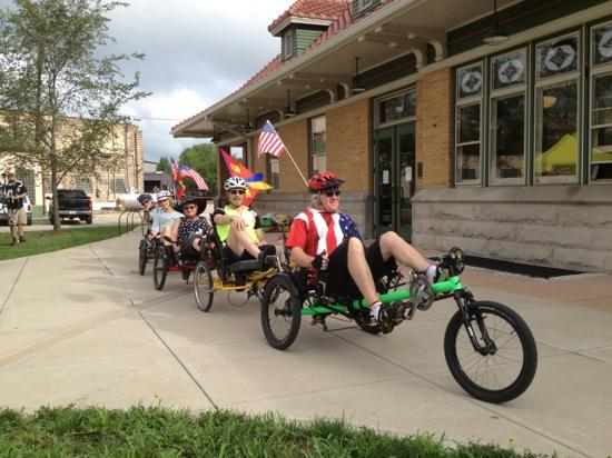 Cardinal Greenway: Cyclists on the Great Greenway Tour in front of the historic Wysor St. Depot.