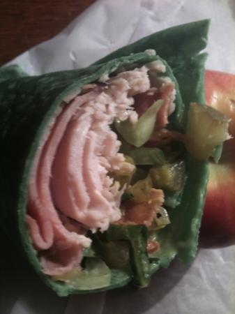 Ally's Eatery: A Good Girl Wrap, on fresh spinach