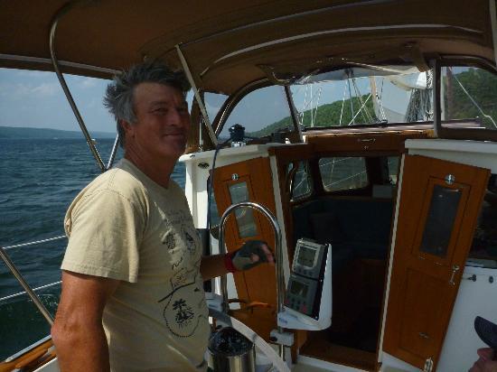 Seneca Sailing Adventures : Captain Terry anchored at Watkins Glen