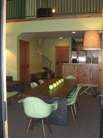 The Lodge at Government Camp: Dining, and kitchen areas of the great room