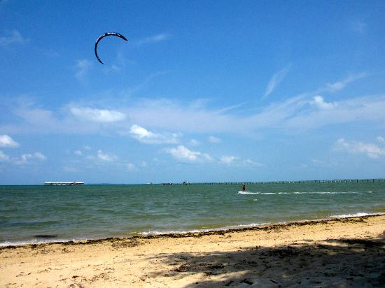 Marjoly Beach Resort : A kite surfer out on the water