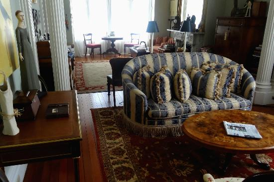 The Parsonage Bed and Breakfast: The parlor has many books about San Francisco