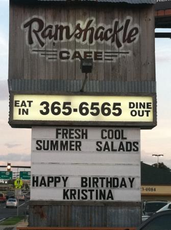 Ramshackle Cafe: ramshackle sign