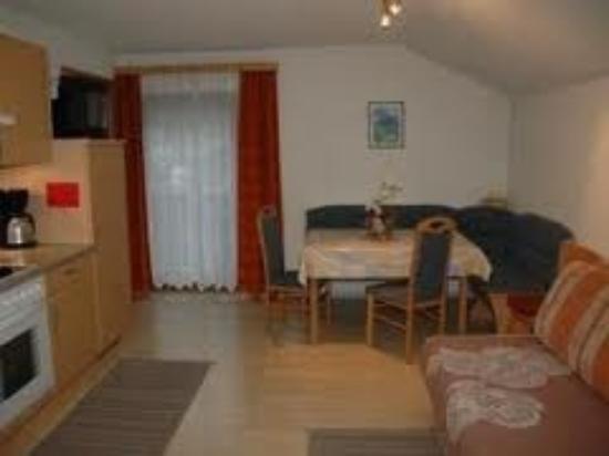 Appartements Ferienwohnungen Pfausler : Gemeinschaftsraum mit Küche und angrenzendem Schlafzimmer