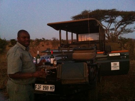 Shishangeni Private Lodge: sundown snacks on evening game drive