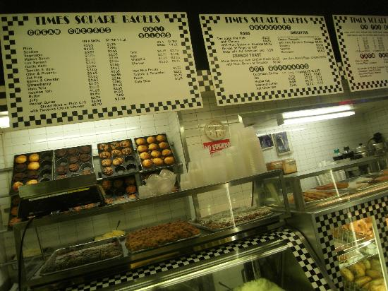 Times Square Hot Bagels: The extensive bagel menu; freshly baked goodies