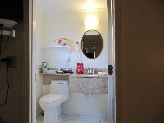 SeaCoast Inn: small but adequate bathroom. Shower behind door