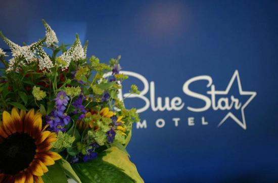 Blue Star Motel: Front Lobby flowers
