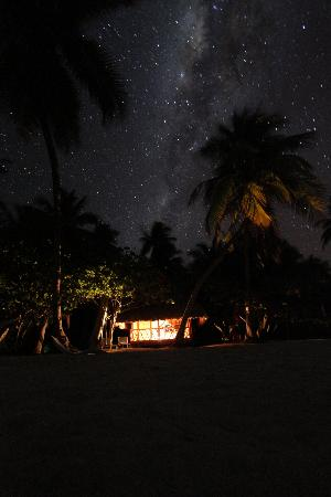 Night in our bungalow at Kia Ora Sauvage