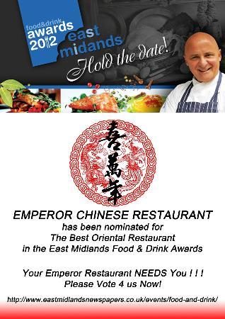Emperor Restaurant: East Midlands Food & Dink Award 2012