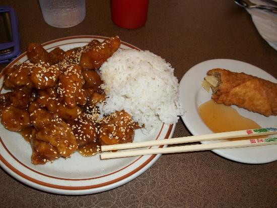 China Lane: sesame chicken with egg roll