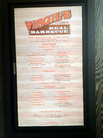 Virgil S Real Bbq Menu