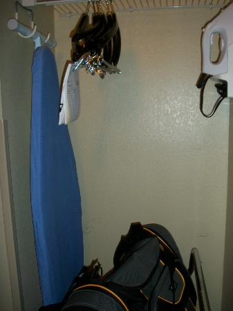Holiday Inn Express Ogden: Closet space with hangers, iron and ironing board