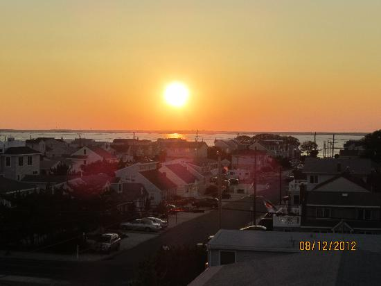 Long Beach Island, NJ: Sunset over bay from rooftop deck
