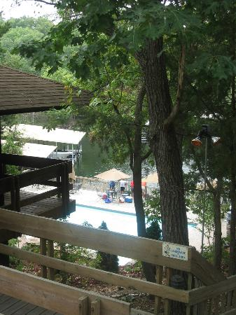 Treetop Village: looking down to the pool