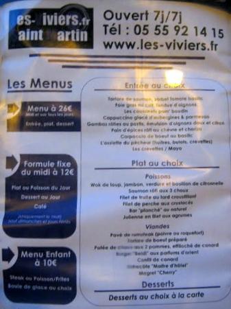 Restaurant Les Viviers Saint Martin : menu