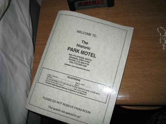 Historical Park Motel : Their motel information in the room.