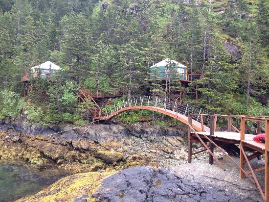 Orca Island Cabins: Bridge to the two new yurts