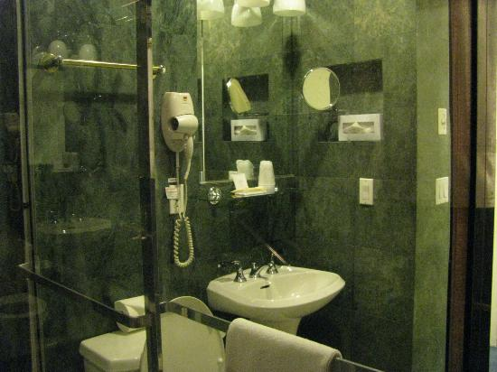 Mayfair Hotel: roomy bathroom with tub/shower and plenty of hot water