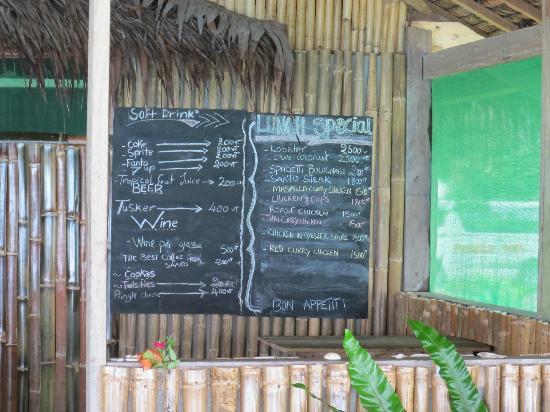 Little Paradise Restaurant: The menu
