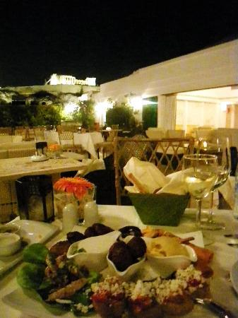 Divani Palace Acropolis: view from the rooftop restauran and our dinner
