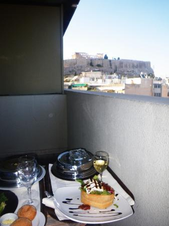 Divani Palace Acropolis: room service dinner on the balcony for our last night