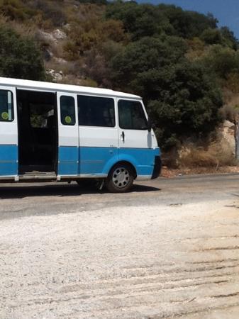 Meis Hotel: Bus navette public menant de la presqu'île à Kas.