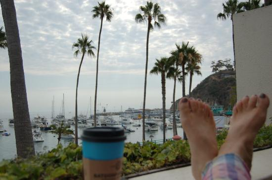 Portofino Hotel: coffee in the morning, looking out to the harbor
