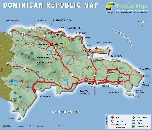 Dominican Republic Map of Citys & Highways - Picture of Punta Cana on