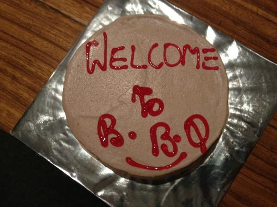 Barbeque Nation: They presented us a cake, since it was our first time there!