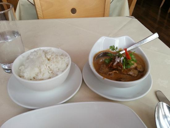 Lemongrass: Main Course Of Massaman Beef Curry And Jasmine Rice