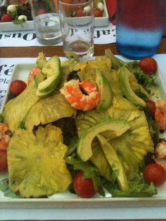 A Cote - Restaurant Pierrade : Salade avocats, crevettes grillées et ananas