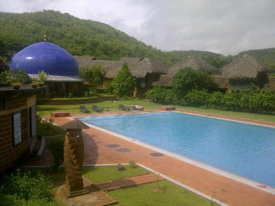 SwaSwara: Look from the Library - Outside Area towards the Pool / Yoga Dome