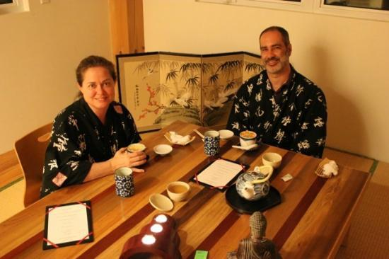 Berkshires Shirakaba Guest House: My husband and I enjoying dinner