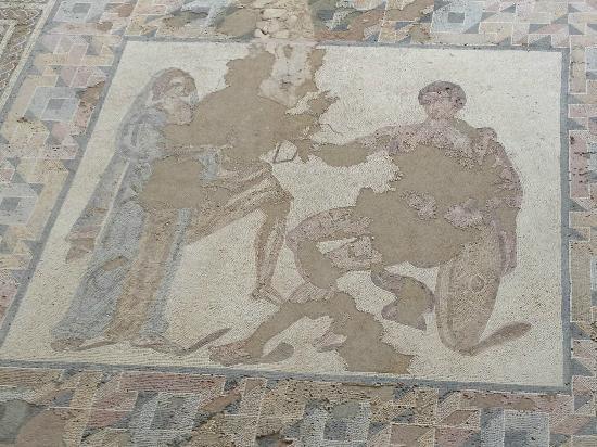 Parque Arqueologico de Carranque : Detalle del mosaico del dormitorio principal