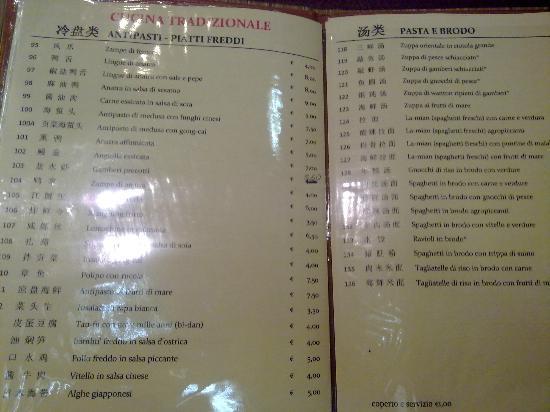 Menu picture of ristorante cinese you yi dell 39 amicizia for Menu cinese