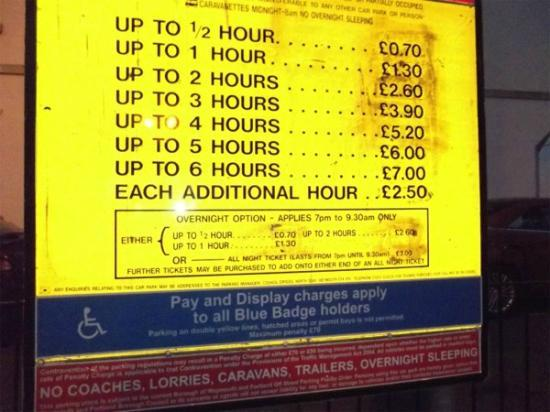 A Maiden Rest: Parking prices for nearby car park