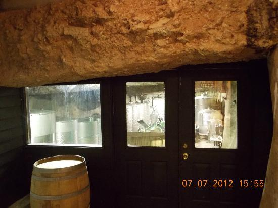 Tarara Winery: love their glass area to see where the barrels are storage with in the rocks