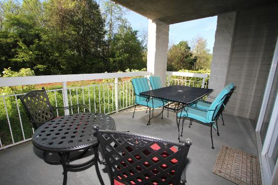Whispering Pines Condominiums: Patio at Whispering Pine 312..Wooded View