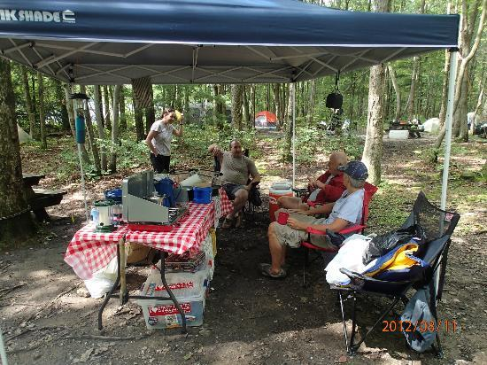 Mauch Chunk Lake Park: our kitchen setup--lots of trees on the campgrounds for shade