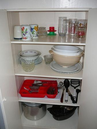 Trinity Cabins: Supplies in the cupboard