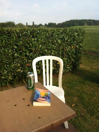 Domaine de Crecy : our own back yard was nice for a beer and reading