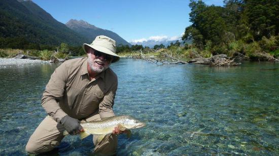 Southern Rivers Fly Fishing: Brown trout, one of a number, caught during helicopter trip to west south island.