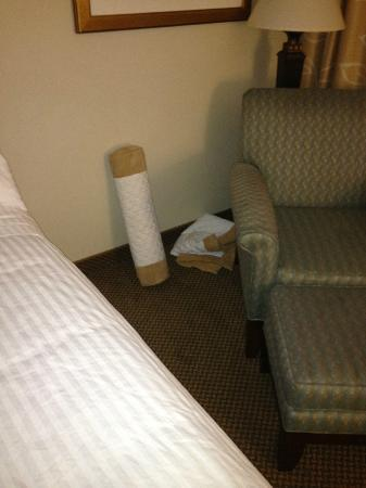 Morgantown Marriott at Waterfront Place: bedding left on floor