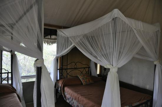 Lake Burunge Tented Camp: showing the bed