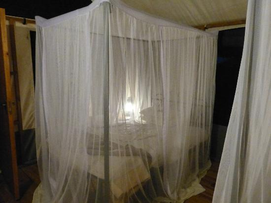 Lake Burunge Tented Camp: Bed with mosiquito net down for the night