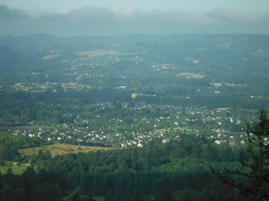 Chehalem Ridge Bed and Breakfast: Valley view with hot air balloon
