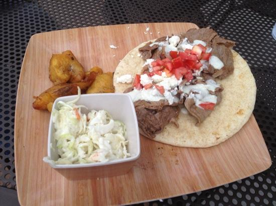 River's Edge: Lamb Gyro with fried plantains and coleslaw.