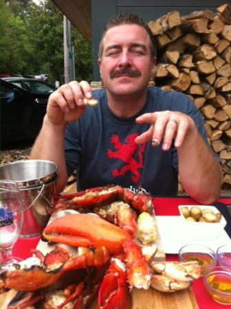 Blaze: The effect of Fruits der Mer on a happy reviewer, dining on the patio!