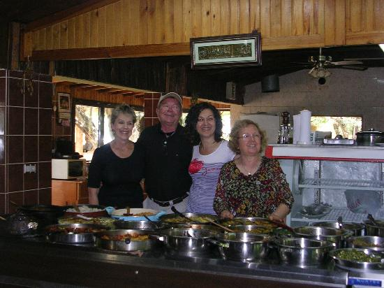 Bizim Ev Hanimeli Restaurant: Daughter and mother who owns restaurant - standing on left side. Meals are served on large tabl